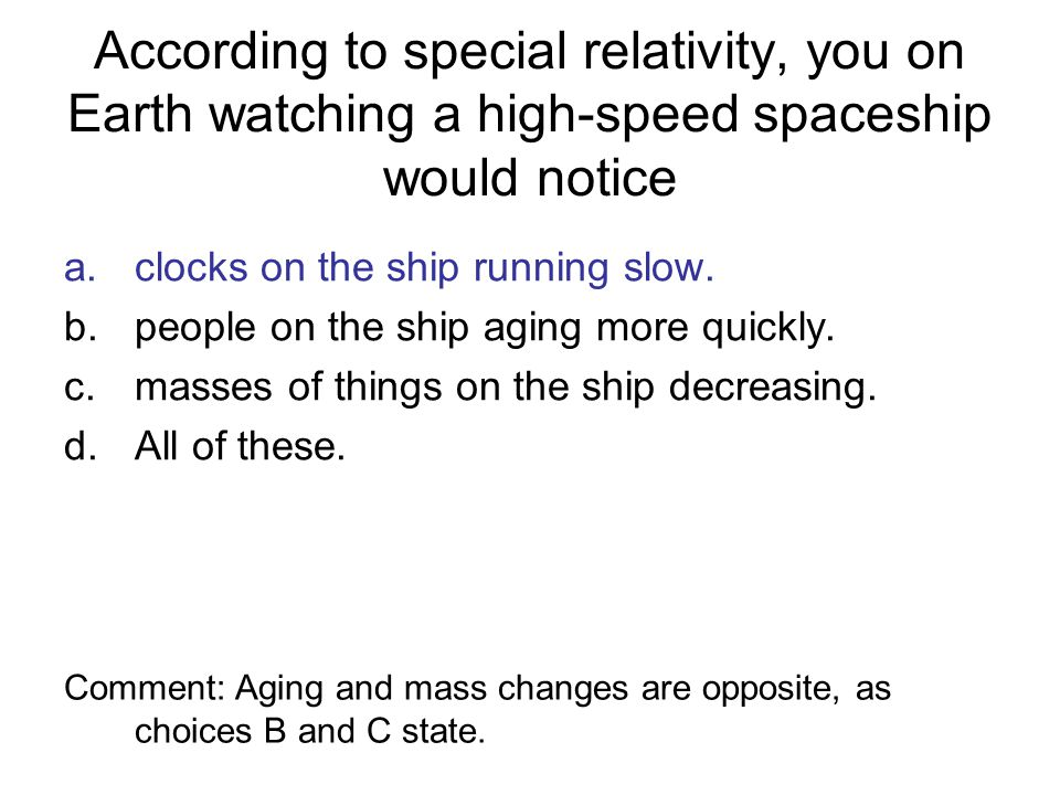 According to special relativity, you on Earth watching a high-speed spaceship would notice