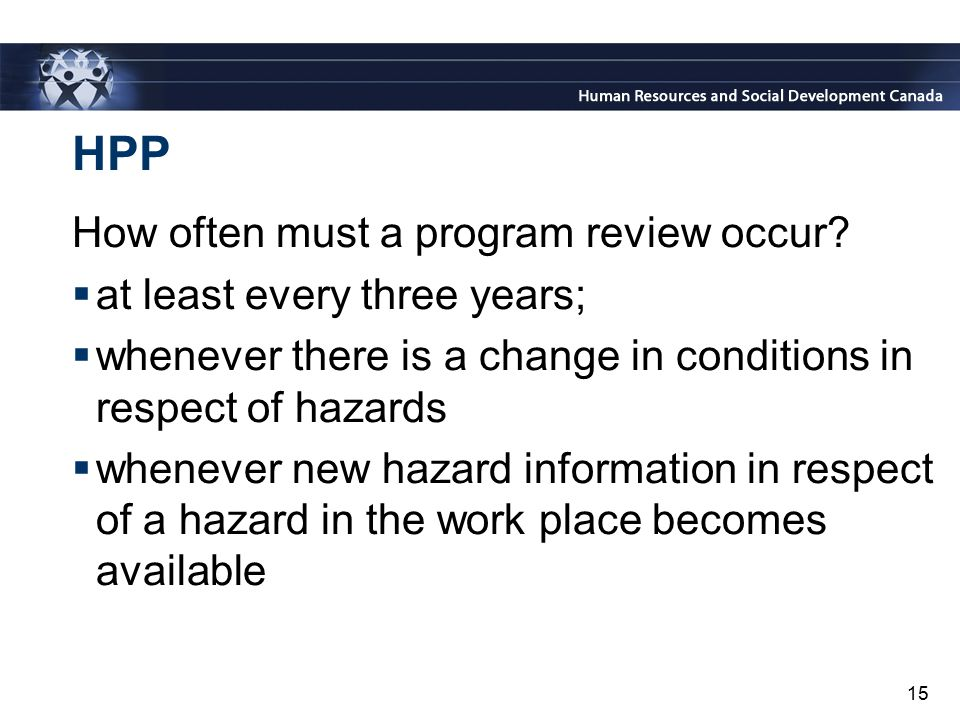 HPP How often must a program review occur at least every three years;