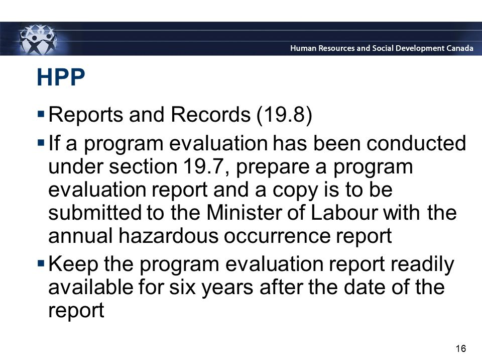 HPP Reports and Records (19.8)