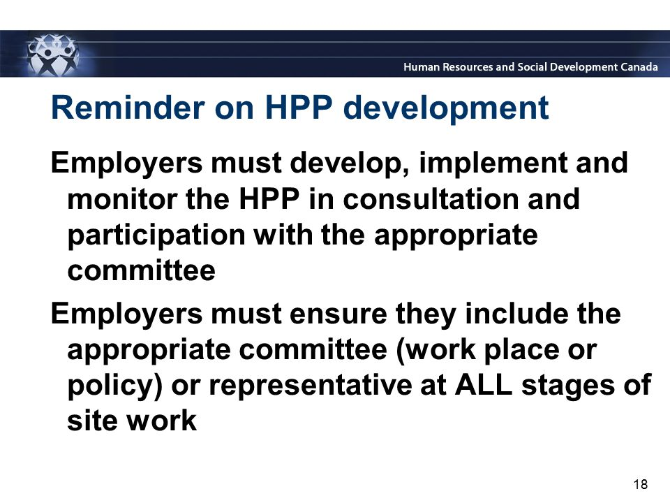 Reminder on HPP development
