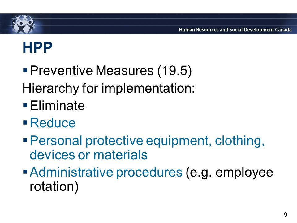 HPP Preventive Measures (19.5) Hierarchy for implementation: Eliminate