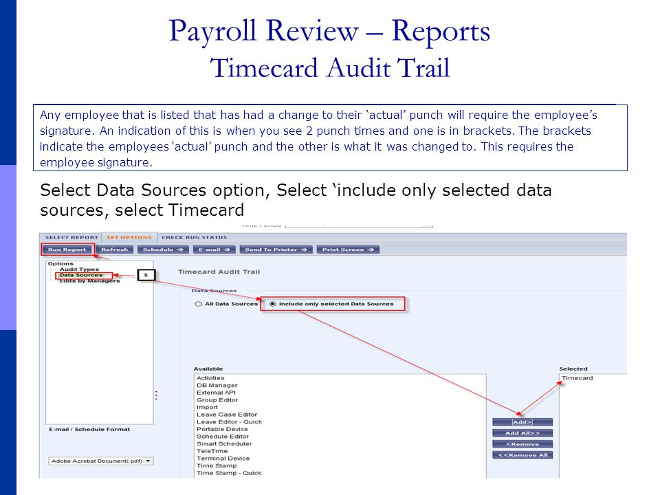 Payroll Review – Reports Timecard Audit Trail