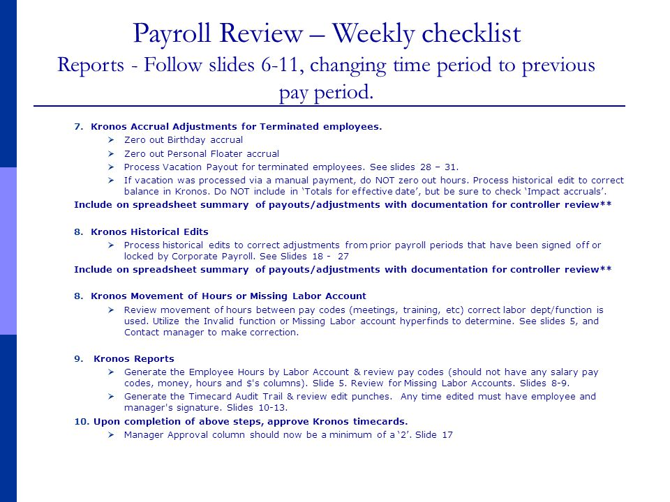 Payroll Review – Weekly checklist