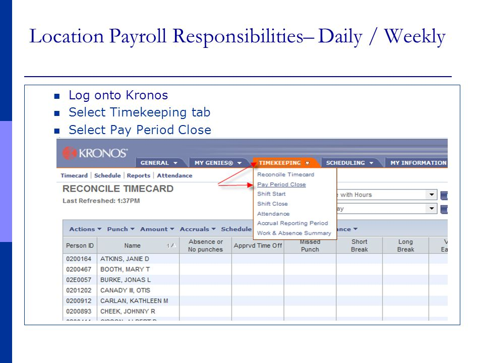 Location Payroll Responsibilities– Daily / Weekly
