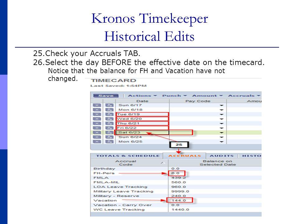 Kronos Timekeeper Historical Edits