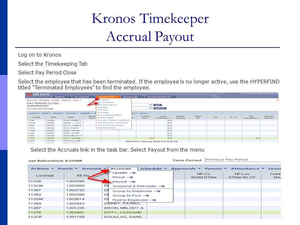 Kronos Timekeeper Accrual Payout Log on to Kronos