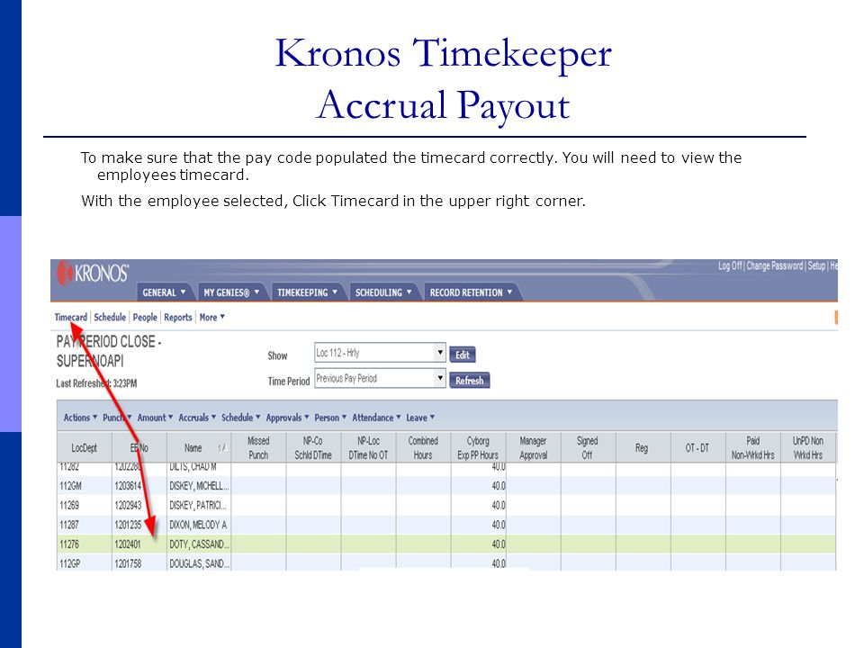 Kronos Timekeeper Accrual Payout