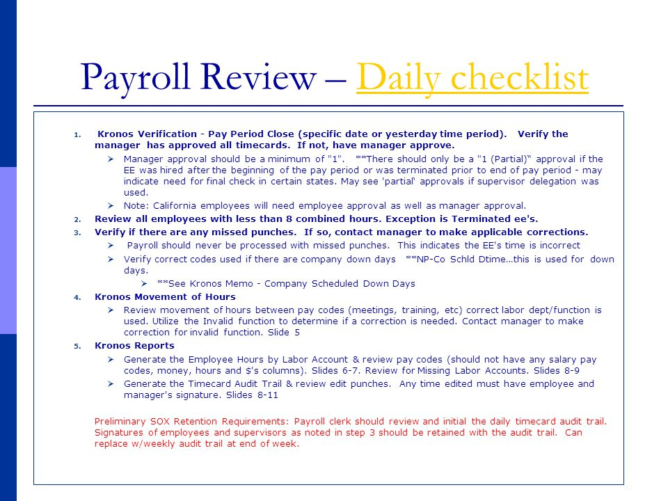 Payroll Review – Daily checklist