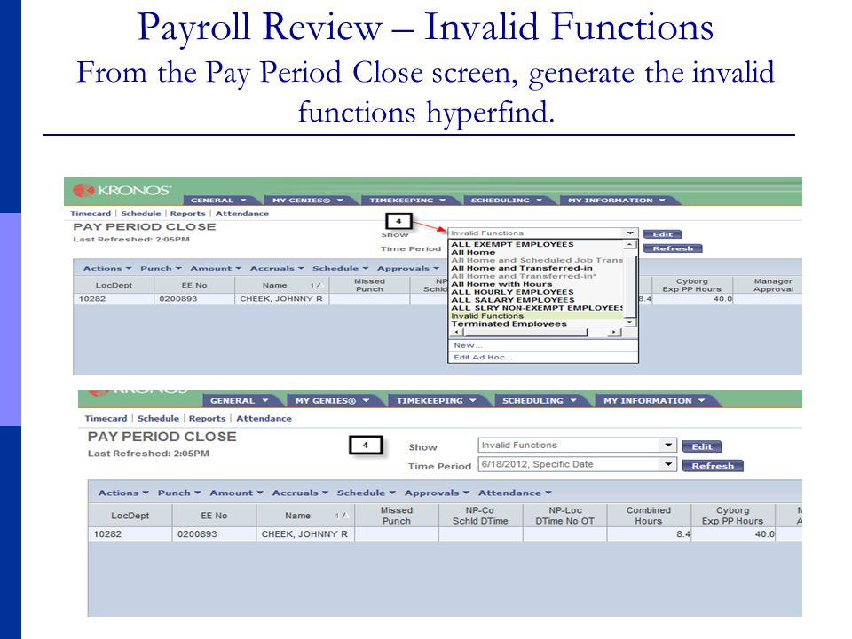 Payroll Review – Invalid Functions From the Pay Period Close screen, generate the invalid functions hyperfind.