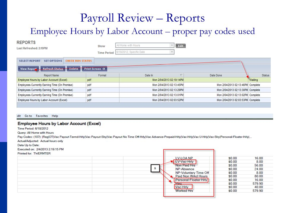 Payroll Review – Reports Employee Hours by Labor Account – proper pay codes used