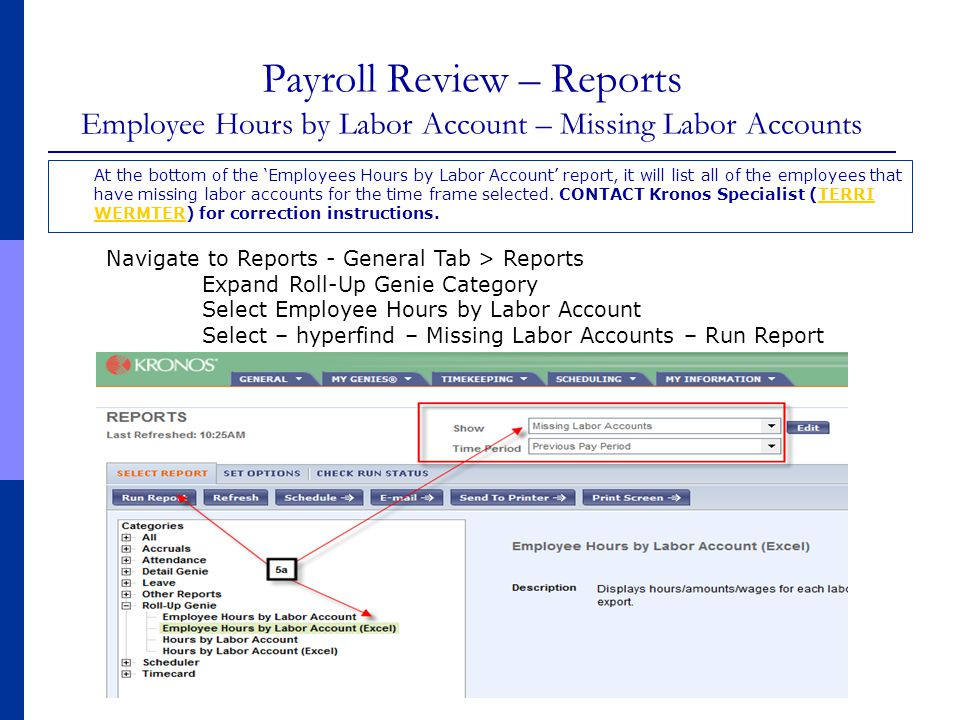 Payroll Review – Reports Employee Hours by Labor Account – Missing Labor Accounts