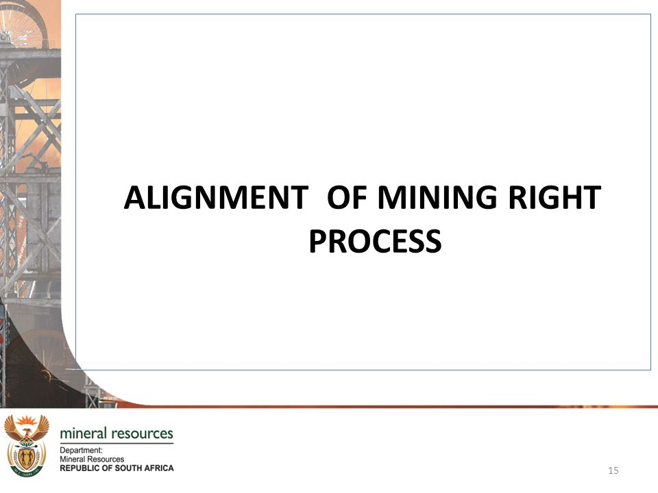 ALIGNMENT OF MINING RIGHT PROCESS