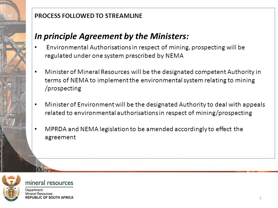 In principle Agreement by the Ministers: