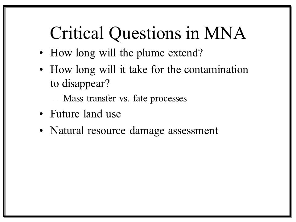 Critical Questions in MNA