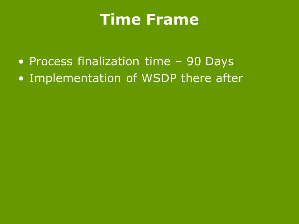Time Frame Process finalization time – 90 Days