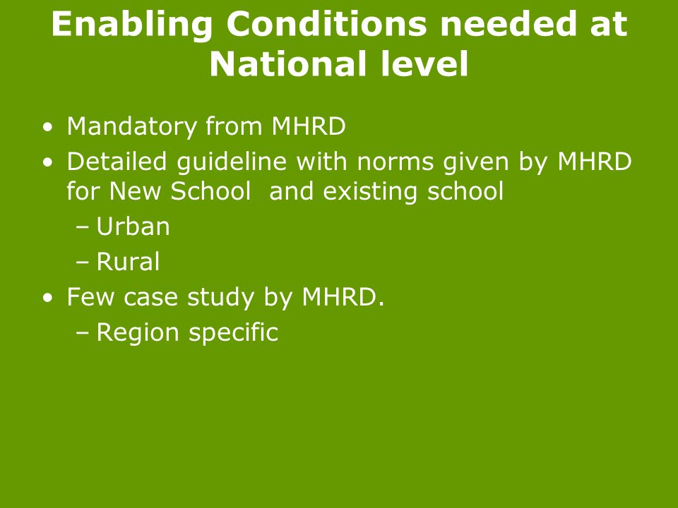 Enabling Conditions needed at National level