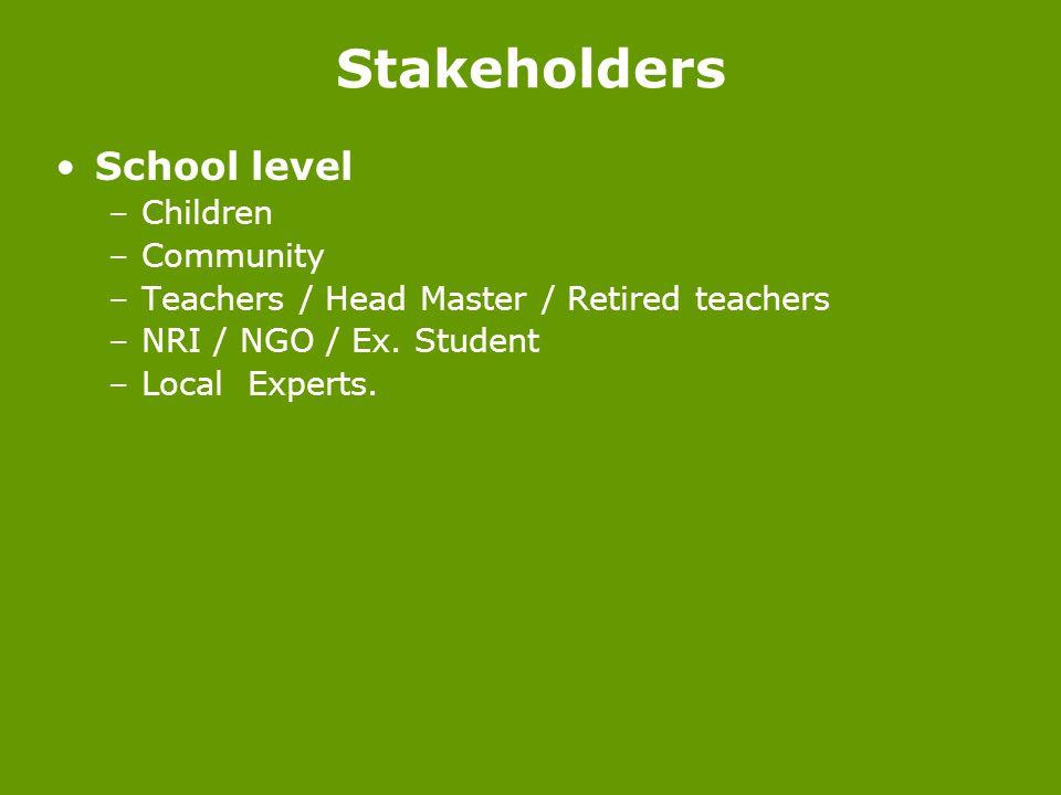 Stakeholders School level Children Community