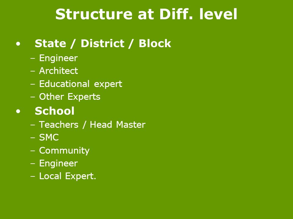Structure at Diff. level