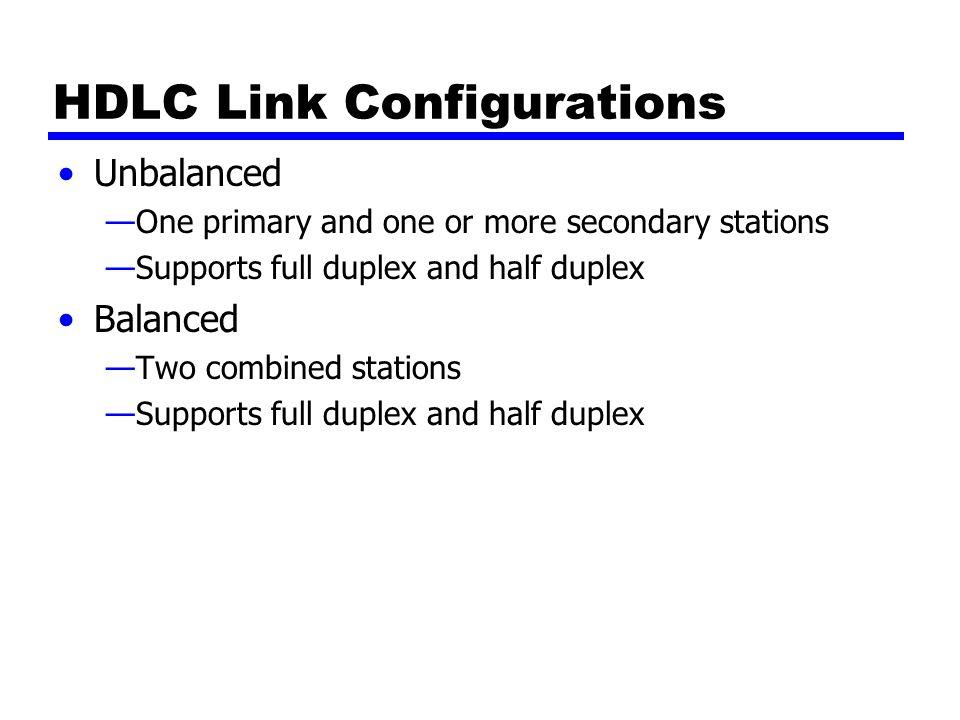 HDLC Link Configurations