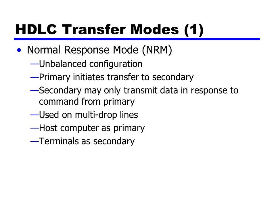 HDLC Transfer Modes (1) Normal Response Mode (NRM)