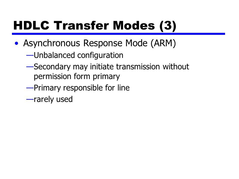 HDLC Transfer Modes (3) Asynchronous Response Mode (ARM)