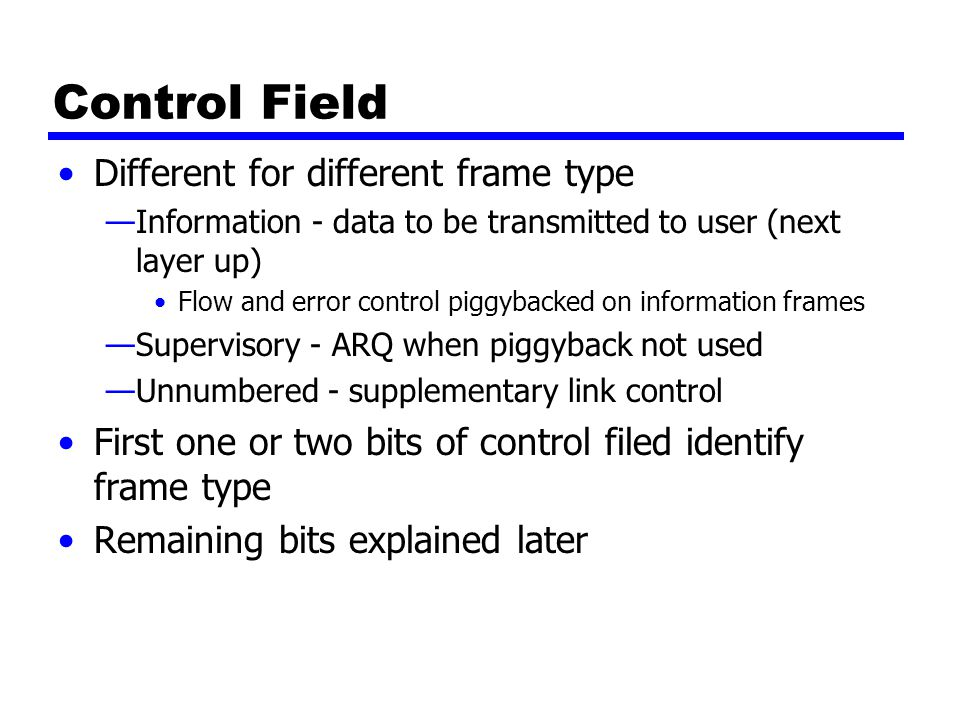 Control Field Different for different frame type
