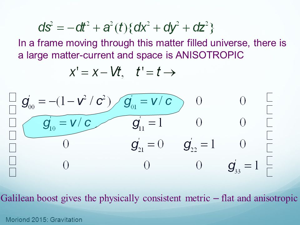 In a frame moving through this matter filled universe, there is a large matter-current and space is ANISOTROPIC