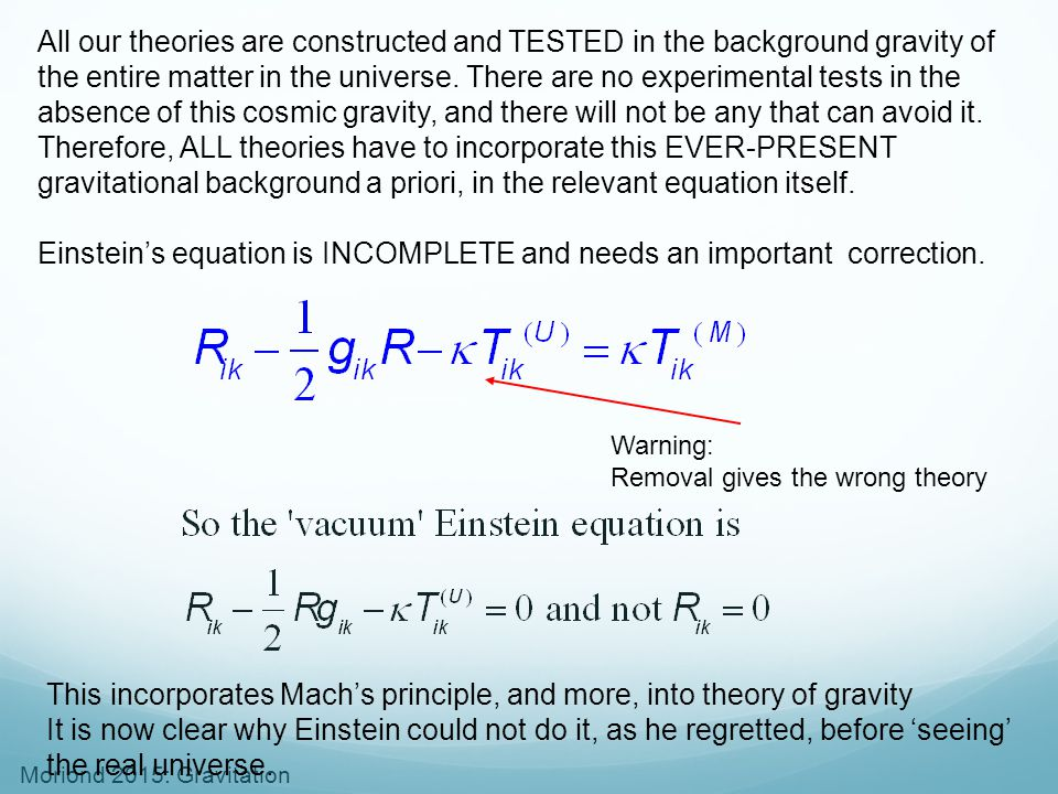 Einstein's equation is INCOMPLETE and needs an important correction.