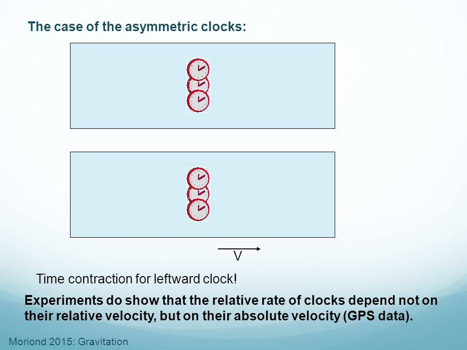 The case of the asymmetric clocks: