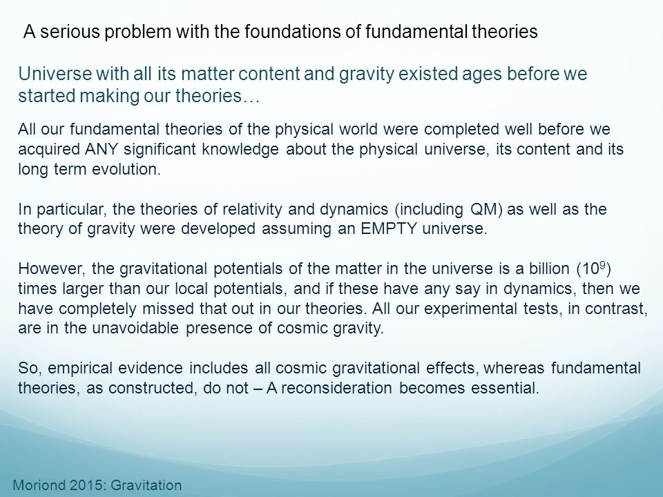 A serious problem with the foundations of fundamental theories