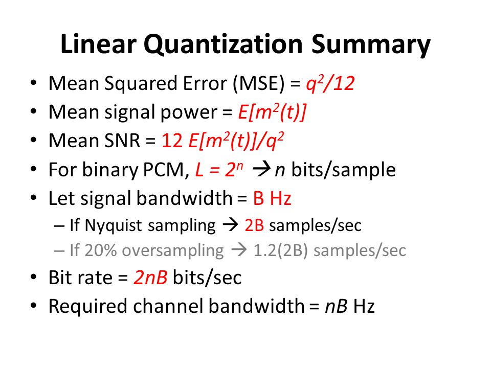 Linear Quantization Summary