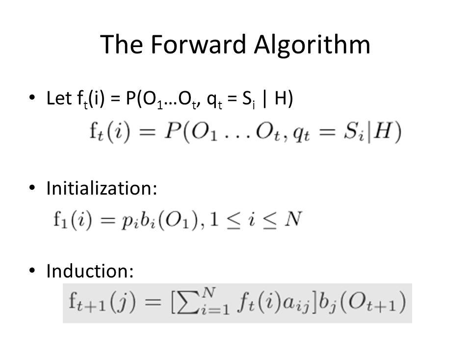 The Forward Algorithm Let ft(i) = P(O1…Ot, qt = Si | H)