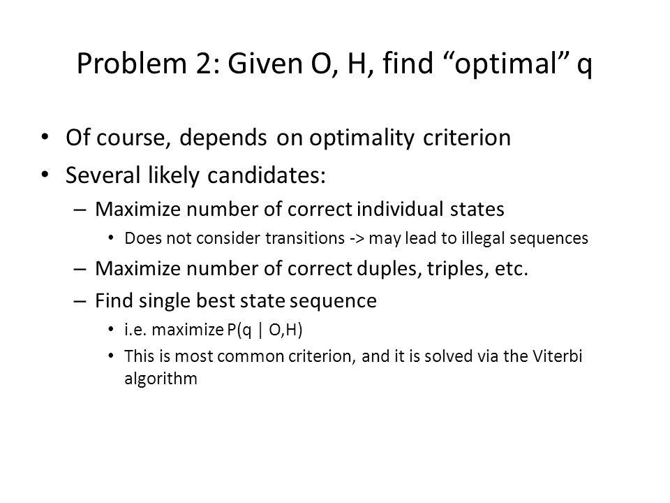 Problem 2: Given O, H, find optimal q