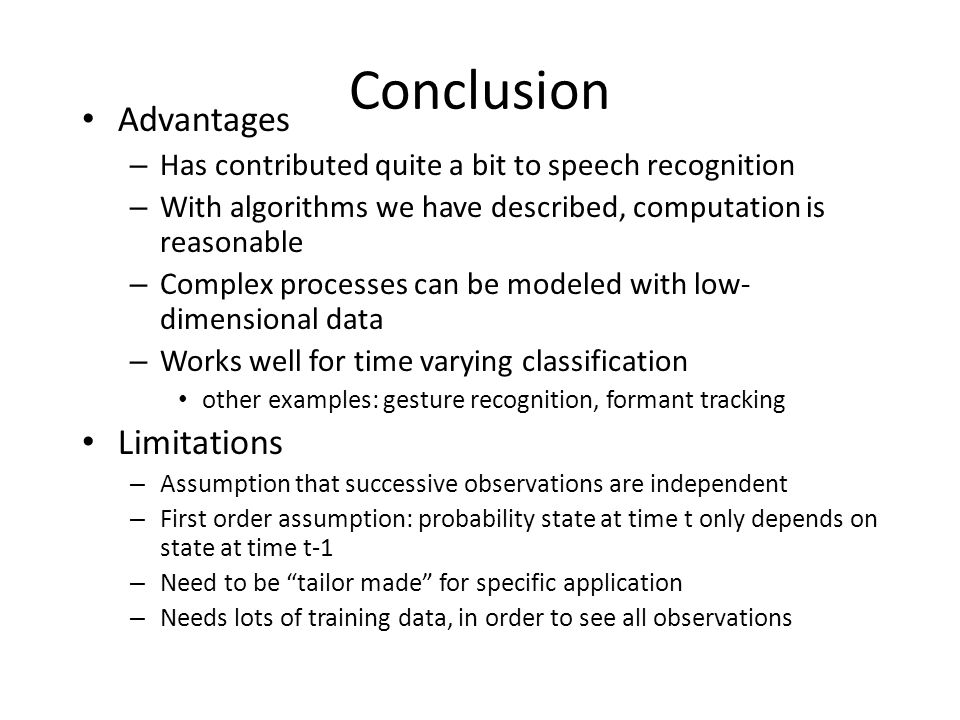 Conclusion Advantages Limitations