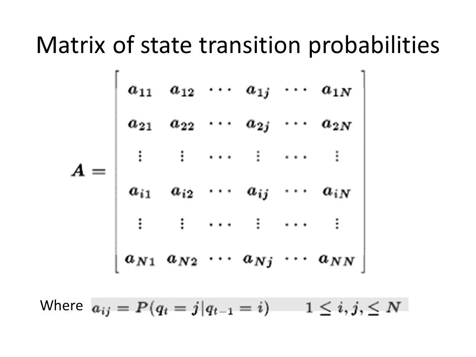 Matrix of state transition probabilities