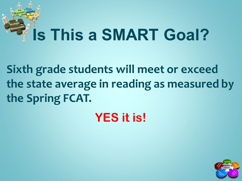 Is This a SMART Goal Sixth grade students will meet or exceed the state average in reading as measured by the Spring FCAT.