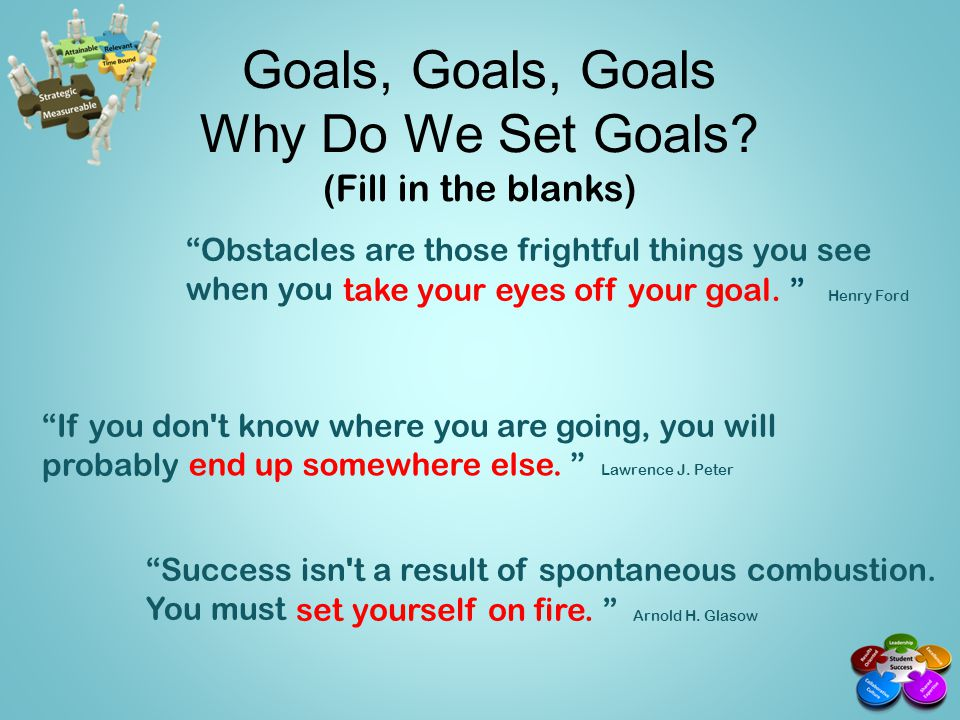 Goals, Goals, Goals Why Do We Set Goals (Fill in the blanks)