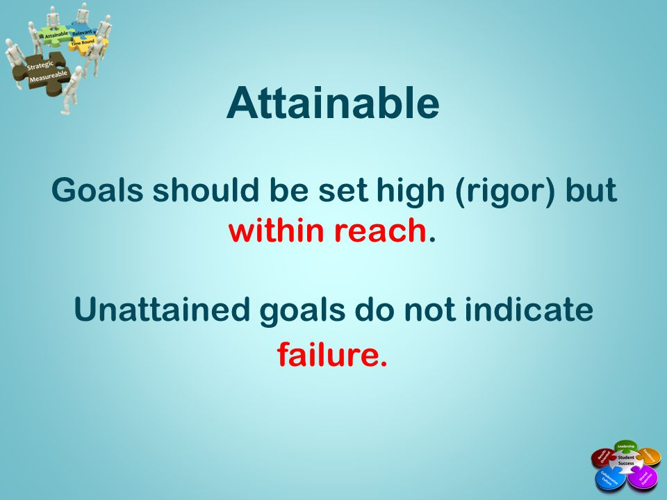 Attainable Goals should be set high (rigor) but