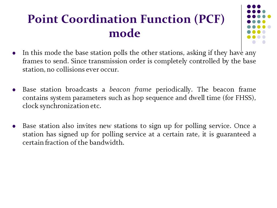 Point Coordination Function (PCF) mode