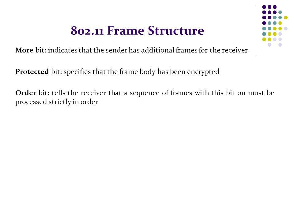 802.11 Frame Structure More bit: indicates that the sender has additional frames for the receiver.