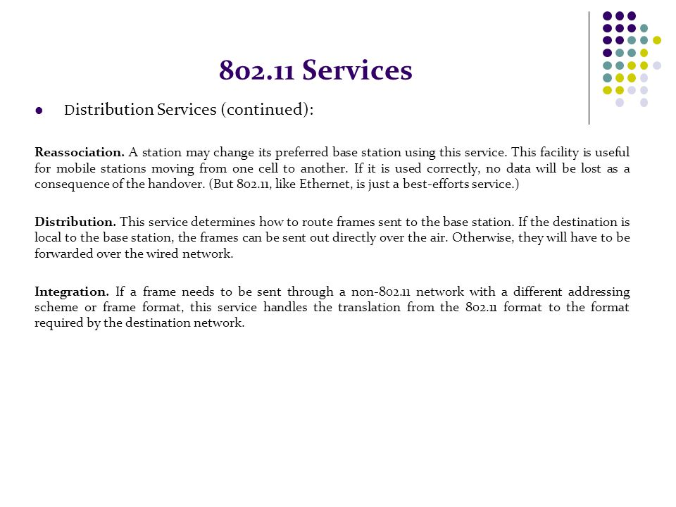 802.11 Services Distribution Services (continued):