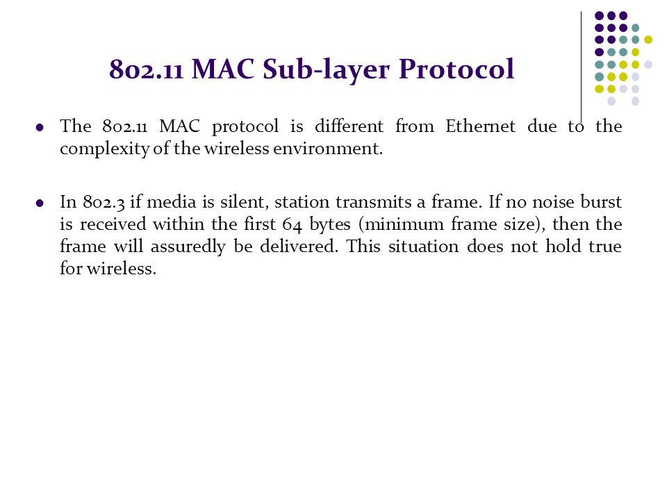 802.11 MAC Sub-layer Protocol