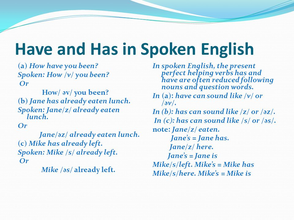 Have and Has in Spoken English