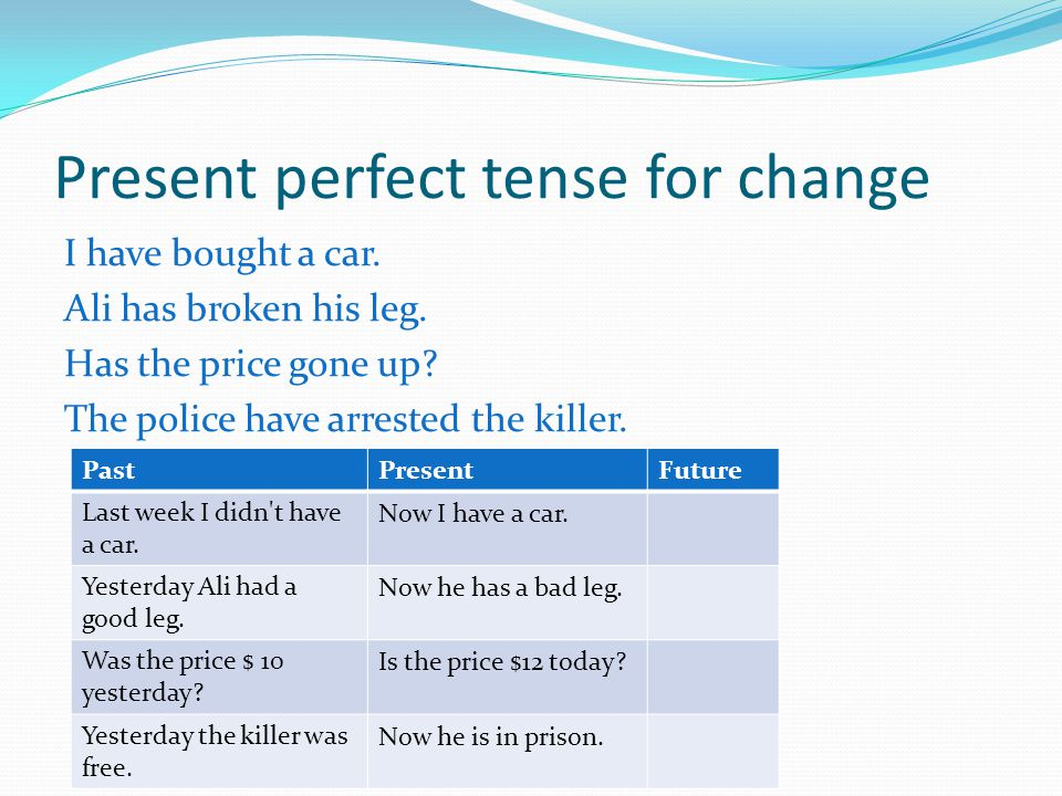 Present perfect tense for change