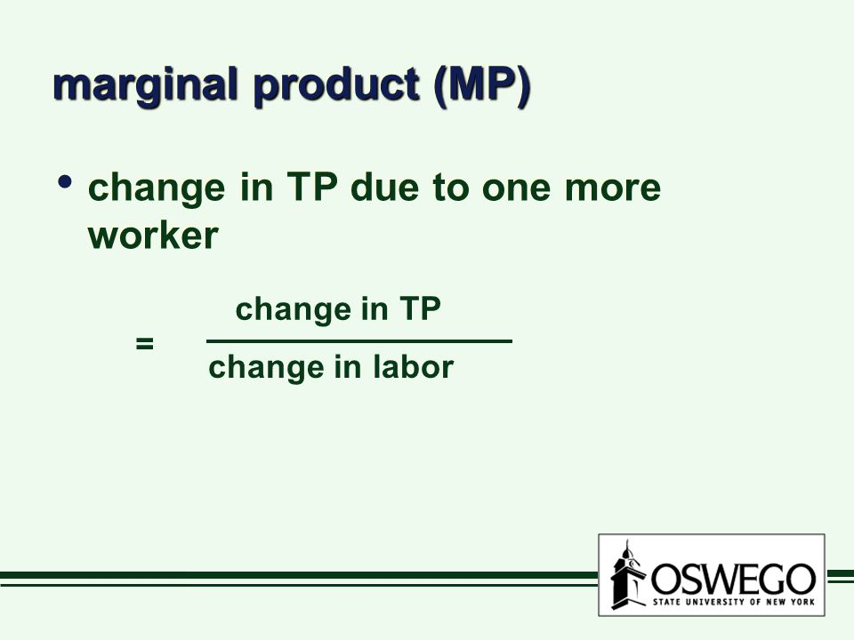 marginal product (MP) change in TP due to one more worker change in TP