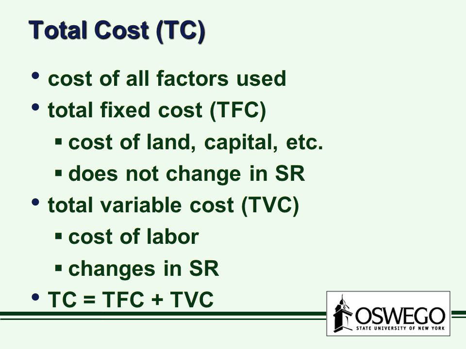 Total Cost (TC) cost of all factors used total fixed cost (TFC)