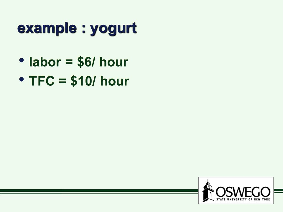 example : yogurt labor = $6/ hour TFC = $10/ hour