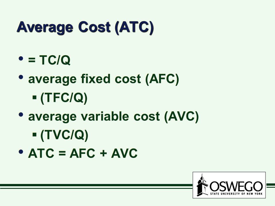 Average Cost (ATC) = TC/Q average fixed cost (AFC) (TFC/Q)