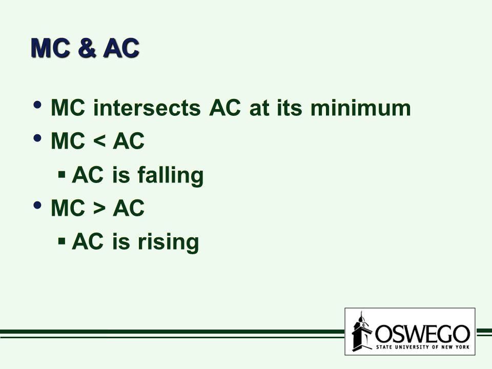 MC & AC MC intersects AC at its minimum MC < AC AC is falling
