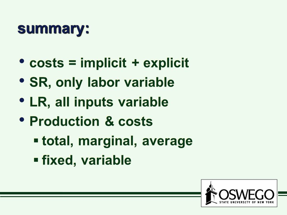summary: costs = implicit + explicit SR, only labor variable